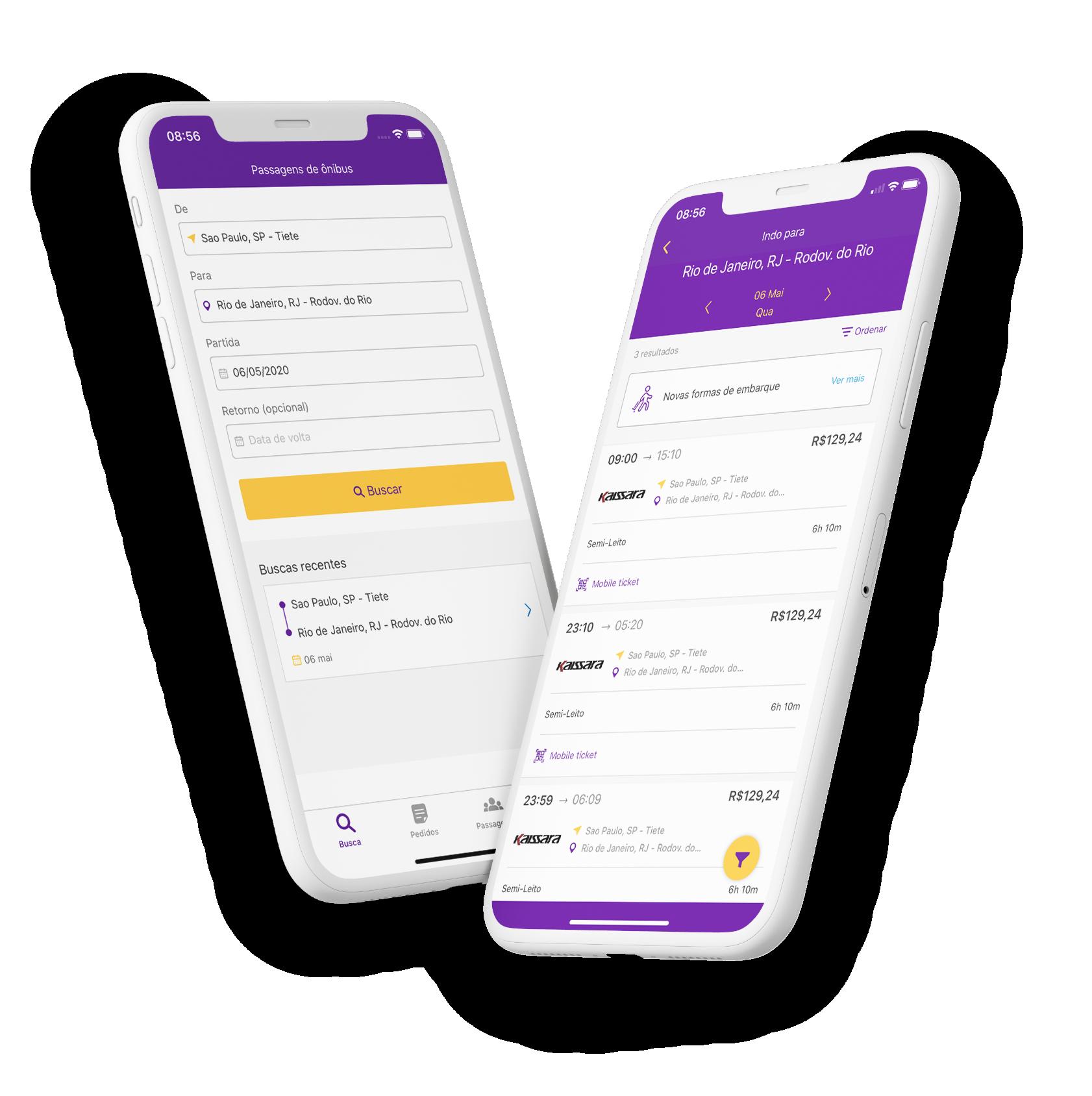 Dois aparelhos celulares mostrando telas de compra da ClickBus